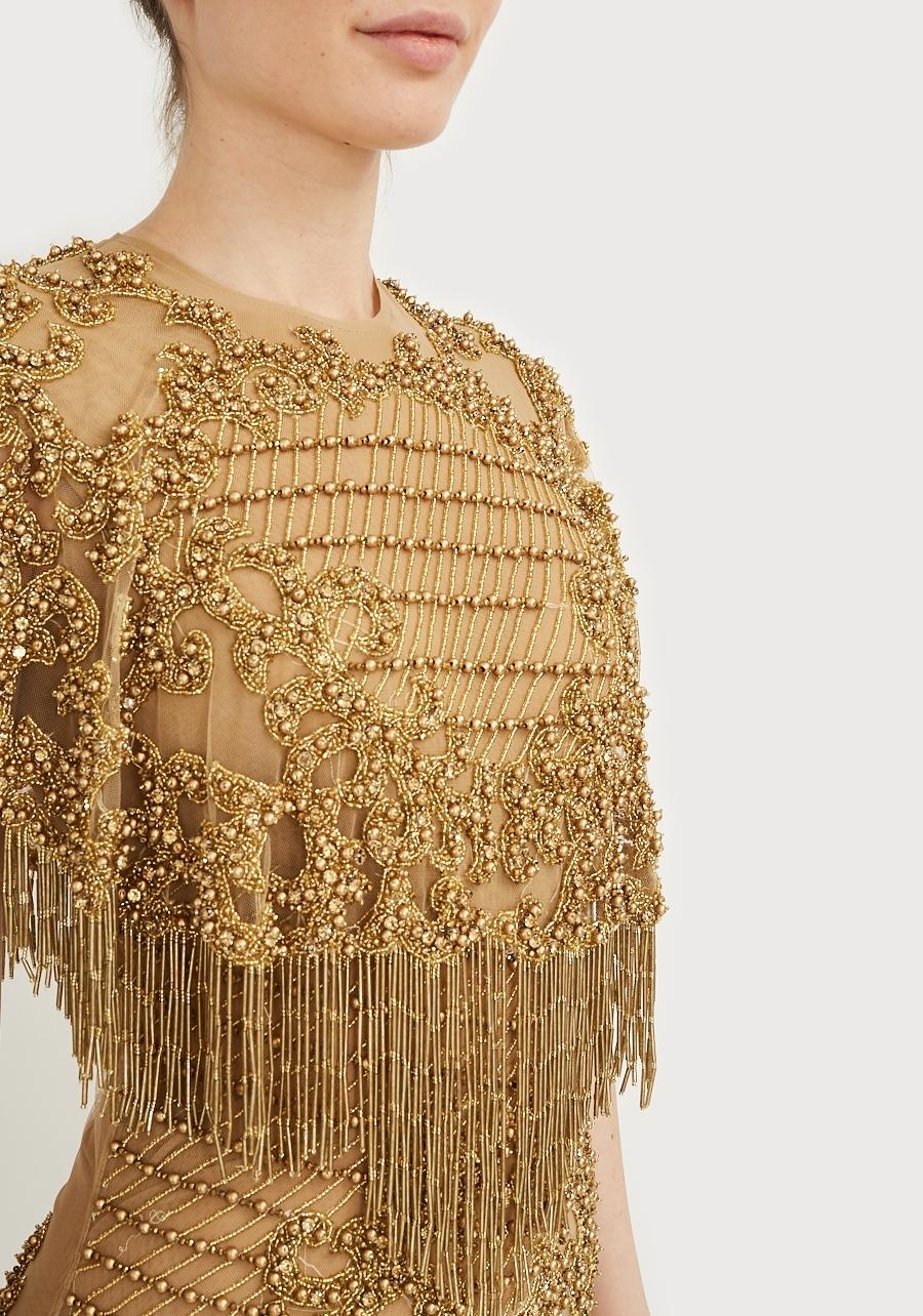 Платье золотое расшитое в ручную