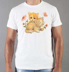 Футболка с принтом Кот, Кошка, Котенок (кошки) белая 0088