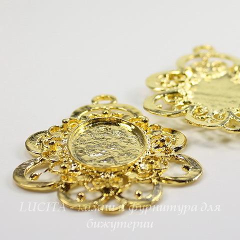 Сеттинг - основа - коннектор (1-1) для камеи или кабошона 23х17 мм (цвет - золото) ()