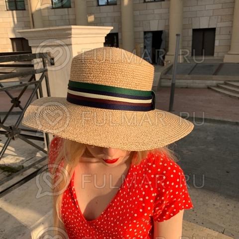 Шляпа соломенная канотье женская летняя Джессика