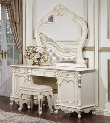 Столик туалетный с зеркалом Глория (MK-2708-WG) Молочный с золотом