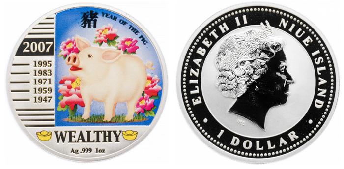 1 доллар 2007 год о. Ниуэ. Год Свиньи. Серебро. PROOF с цветной печатью