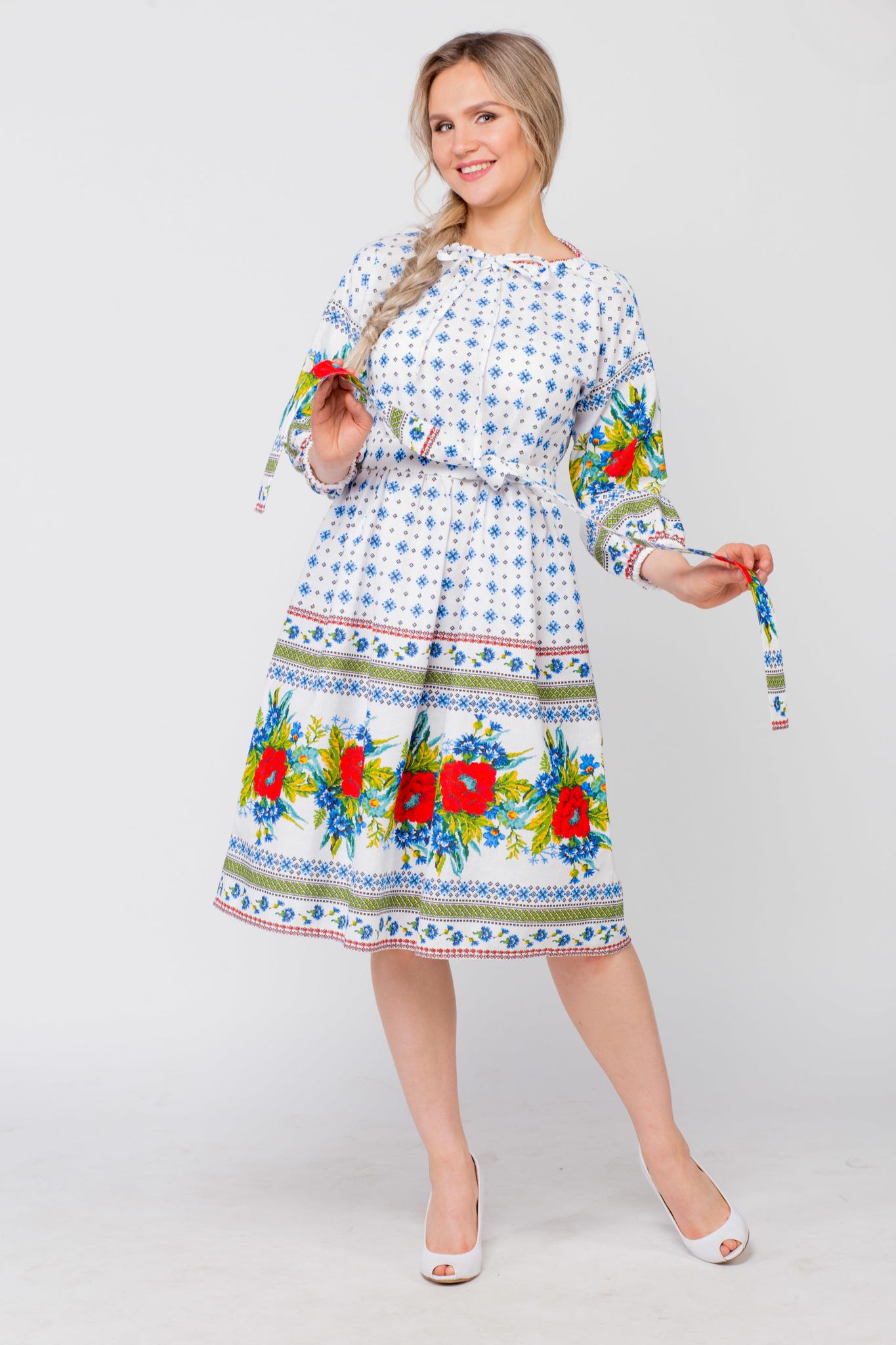 Платье льняное Маки-васильки