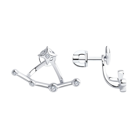 94023748 - Серьги-джекеты  из серебра с фианитами