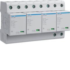 Комбинированный разрядник защиты от перенапряжения, 4пол., 8M, класс 1+2 или B, 100kA TT, с индикацией, сменными картриджами, доп. перекл. контактом