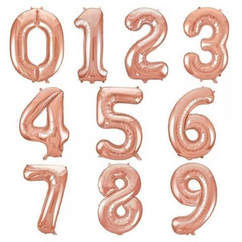 Цифра фольгированная розовое золото 101 см.
