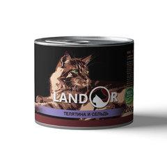 Консервы для пожилых кошек, Landor, с телятиной и сельдью