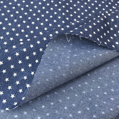 Ткань джинса с эластаном со звездами 2082