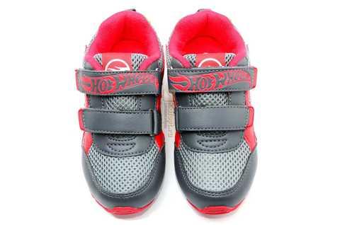 Светящиеся кроссовки Хот Вилс (Hot Wheels) на липучках для мальчиков, цвет серый красный. Изображение 11 из 14.