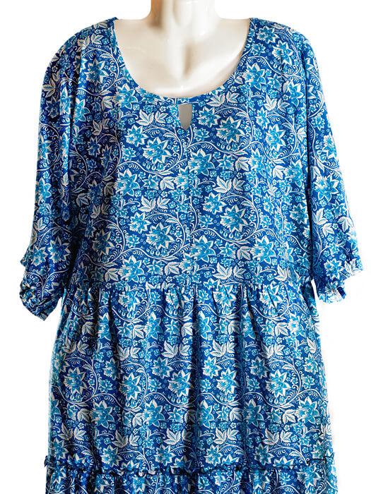 Платье Леся синий узор