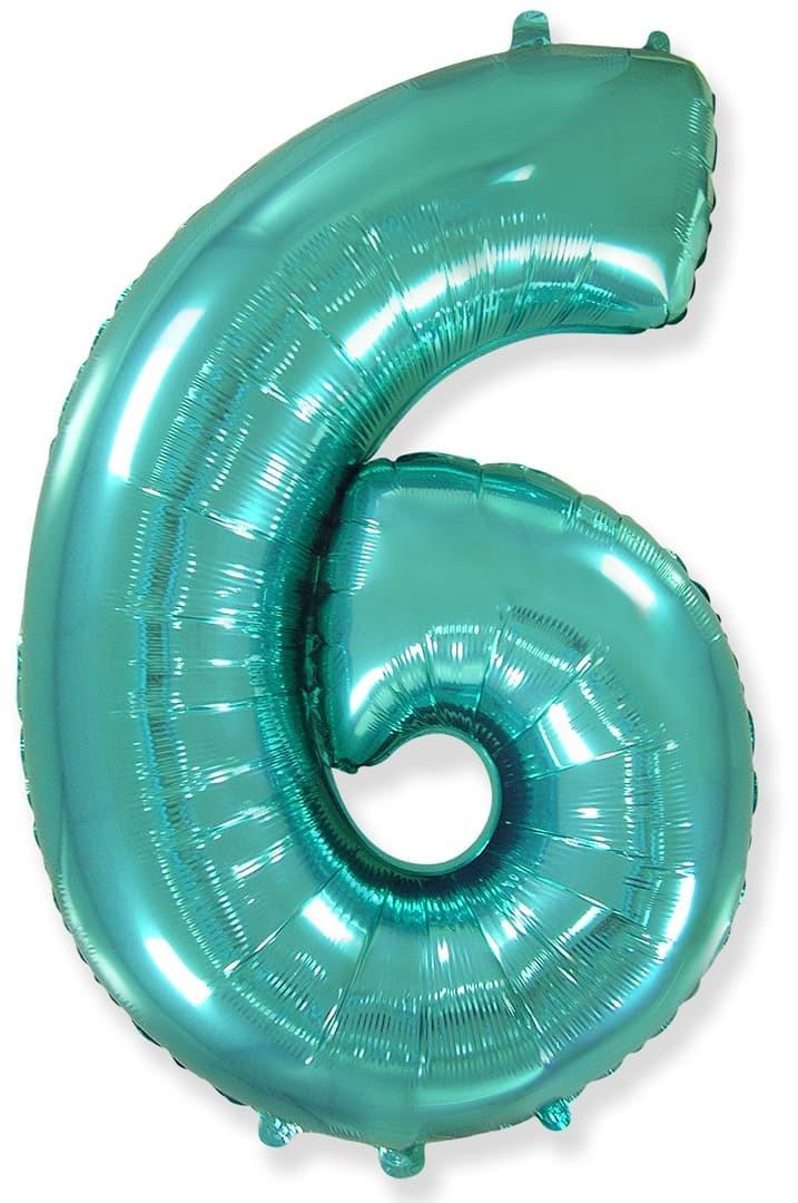 Фольгированный шар цифра 6 тиффани