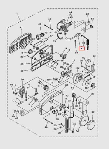 Кнопка аварийной остановки в машинке газ-реверс для лодочного мотора T40 Sea-PRO (28-47)