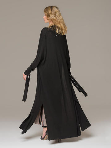 Женский черный удлиненный кардиган из вискозы на поясе - фото 3