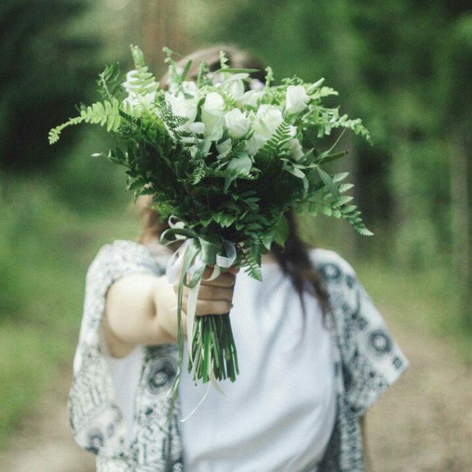 Букет невесты Пермь лес нимфа эко рустик белый папоротник
