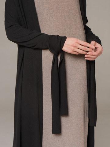 Женский черный удлиненный кардиган из вискозы на поясе - фото 2