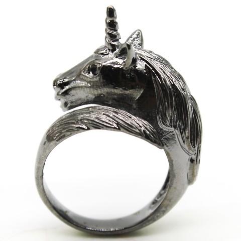 Кольцо Единорог (черный)