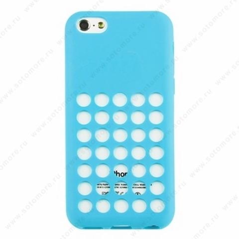 Накладка силиконовый для Apple iPhone 5C с перфорацией голубой
