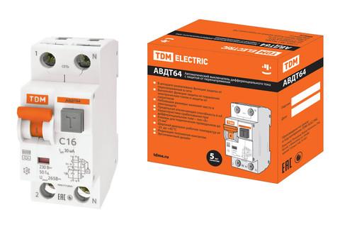 АВДТ 64 2Р(1Р+N) C10 30мА тип А защита 265В TDM