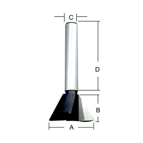 Фреза «ласточкин хвост» 12,7*32*12,7*8 мм; 14 °