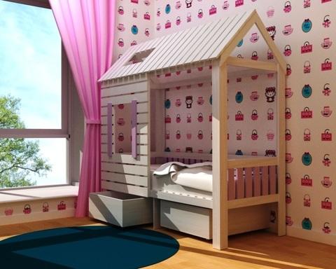 Кровать АМИ-1 с ящиками правая