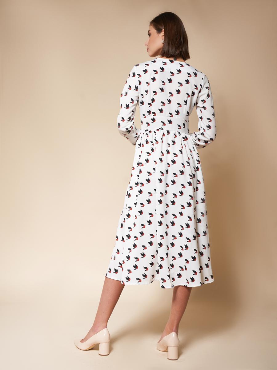 Платье на кокетке «Birds» белый