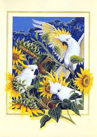 Алмазная Мозаика 30x40 Попугаи и подсолнухи (арт. G1174)