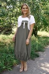 Агат. Оригинальное платье больших размеров. Олива.