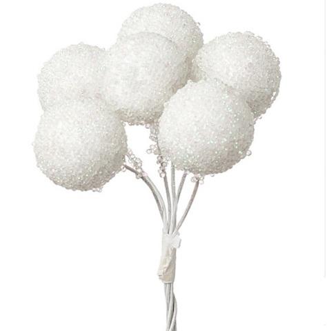 Набор шариков засахаренных на вставках 6шт., размер: D2,2xL11см, цвет: белый
