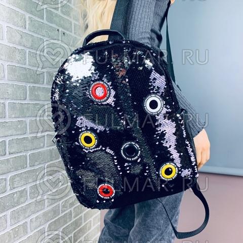 Рюкзак большой школьный для девочек в пайетках Чёрный-Серебристый