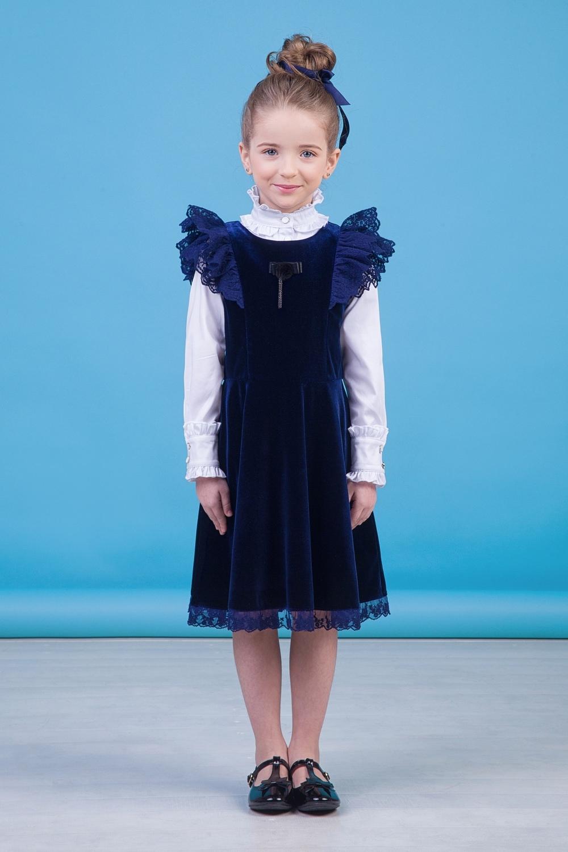 Сарафан синий для девочки 40-9021-2