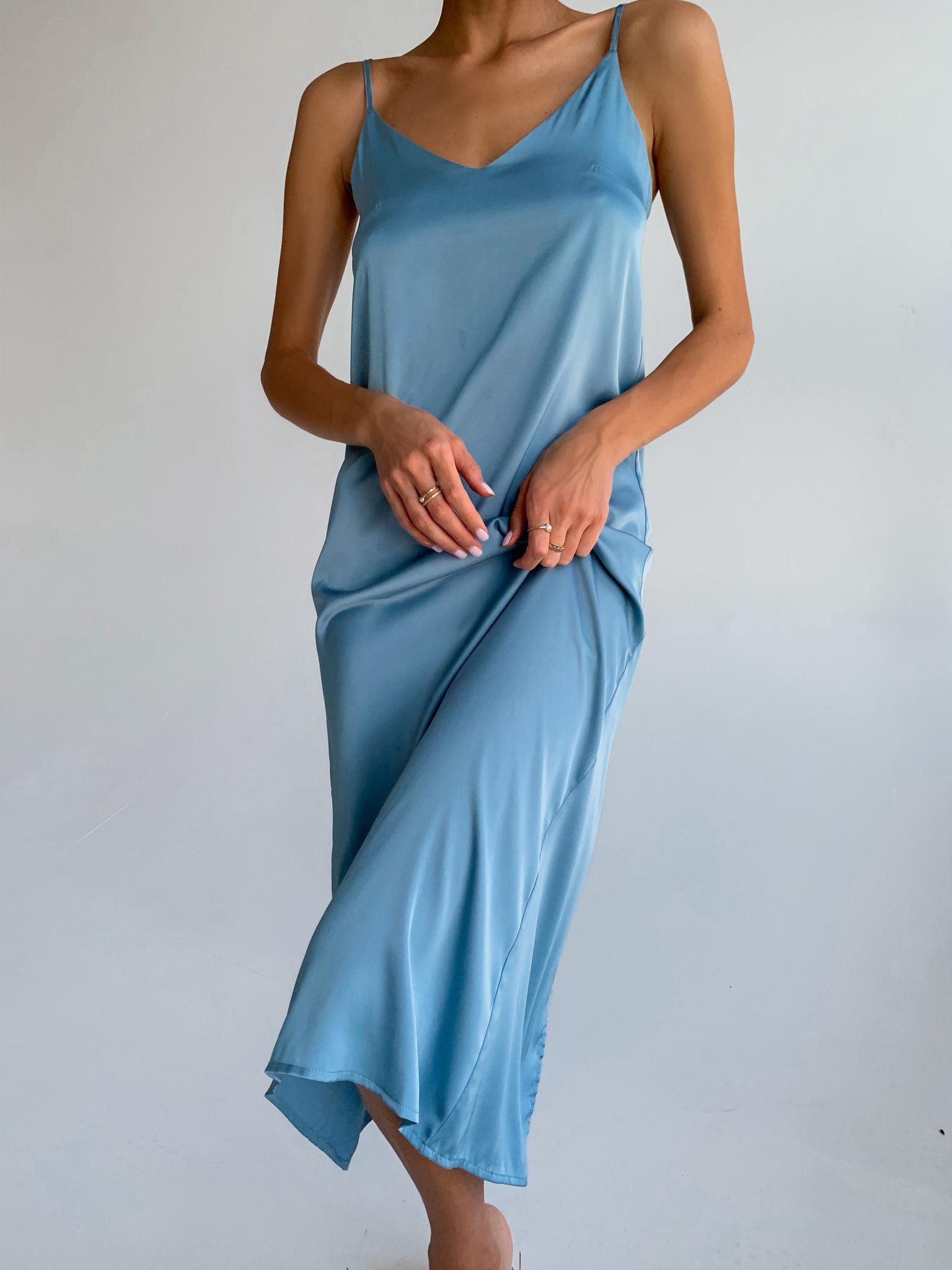 Шелковое платье комбинация (серо-голубой)