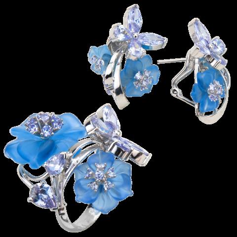 Комплект украшений с цветами из голубого кварца и кубическим цирконием цвета лаванды № 131