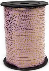 Лента (0,5 см*250 м) Золотые точки, Розовый, Металлик, 1 шт.