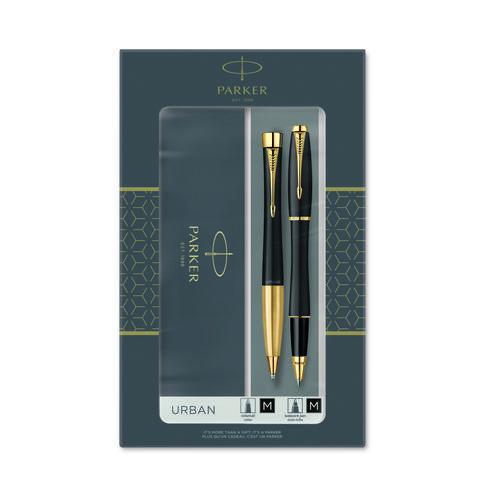 Подарочный набор из 2-х ручек Parker URBAN Matt black GT роллер+шариковая ручки123
