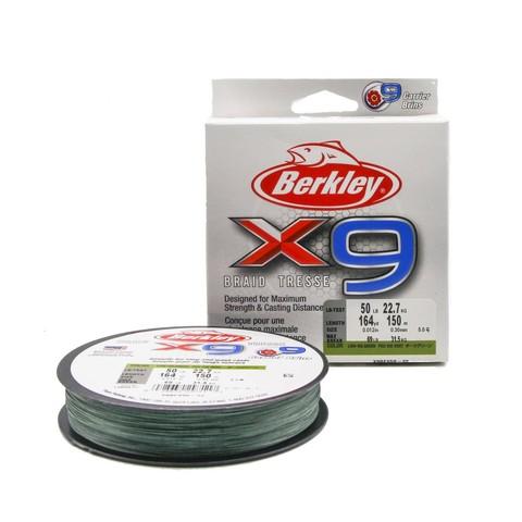 Плетеная леска Berkley X9 150м Темно-зеленая 0,30мм 22,7кг