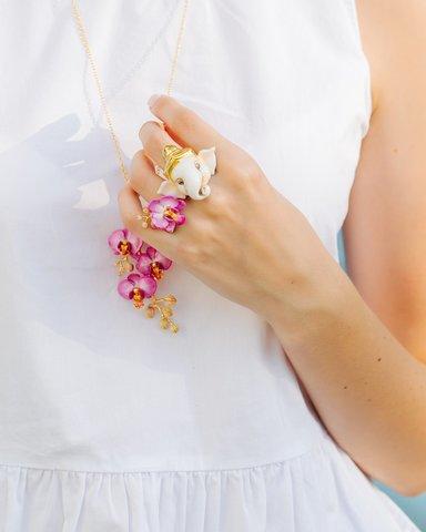 Колье  Орхидея (сиреневая)