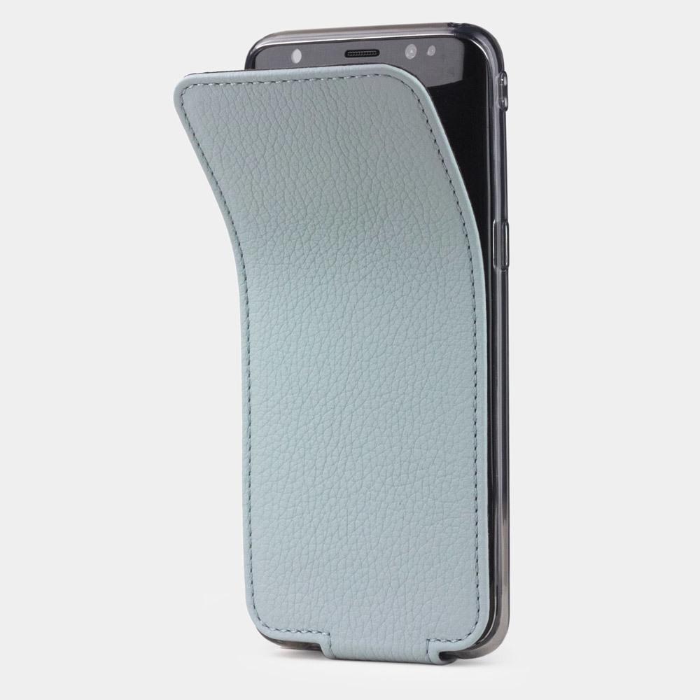 Чехол для Samsung Galaxy S8 Plus из натуральной кожи теленка, голубого цвета