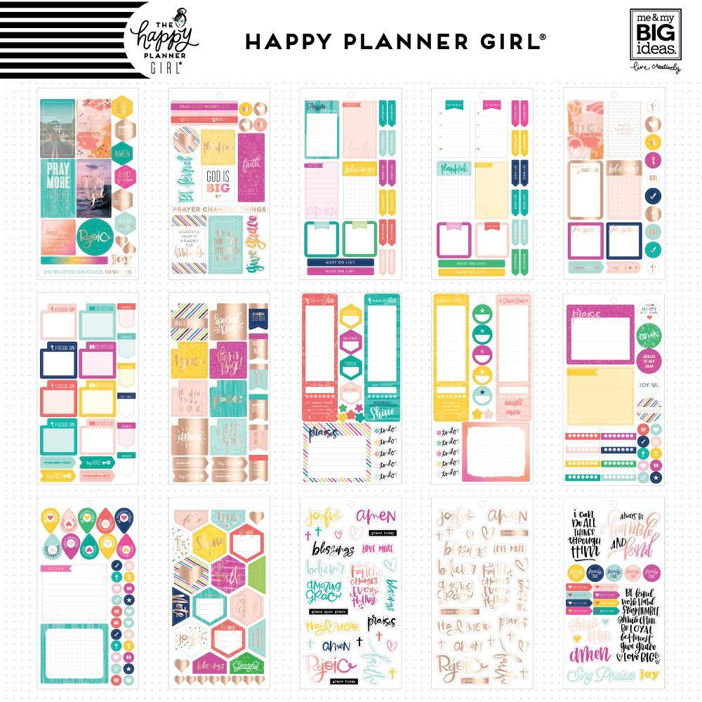 Блокнот со стикерами для ежедневника Create 365 Happy Planner Sticker -Value Pack Stickers - Faith Warrior- 1010шт