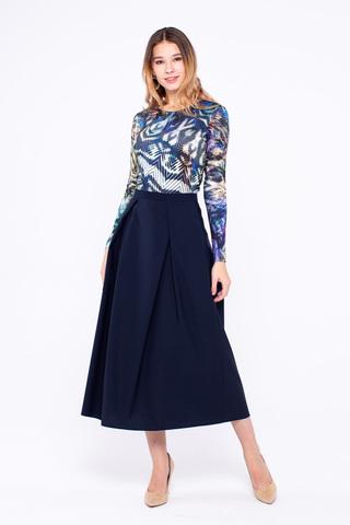 Фото теплая юбка французской длины с карманами и складками - Юбка Б088-140 (1)