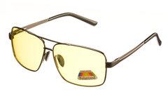 Очки с металлической оправой с желтыми поляризованными линзами