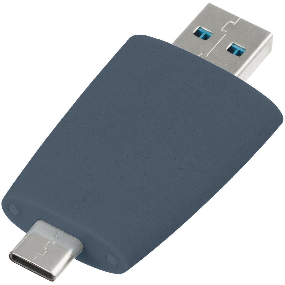 Pebble USB flash drive, grey-blue