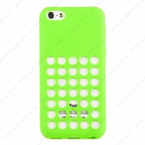 Накладка силиконовый для Apple iPhone 5C с перфорацией зеленый