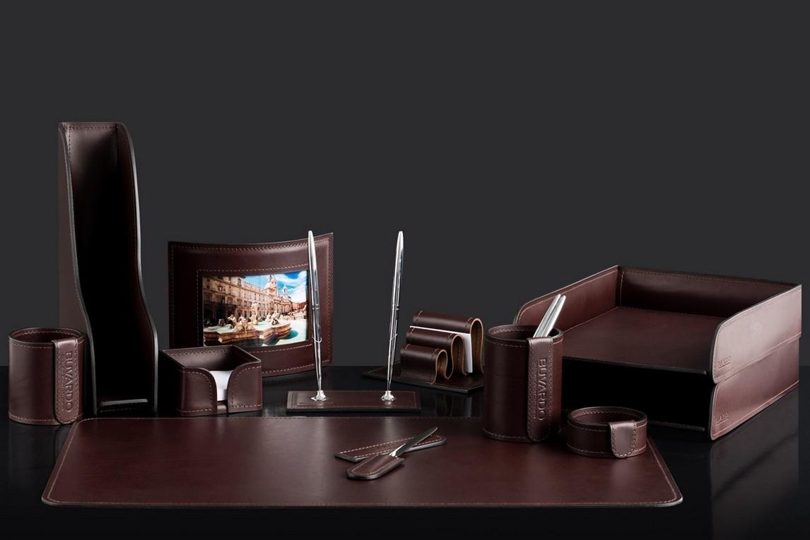 На фото набор на стол руководителя 73017 12 предметов кожа LUX Full Grain цвет