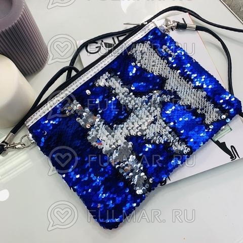 Клатч-сумочка на молнии детская с пайетками меняющая цвет Синий-Зеркальный