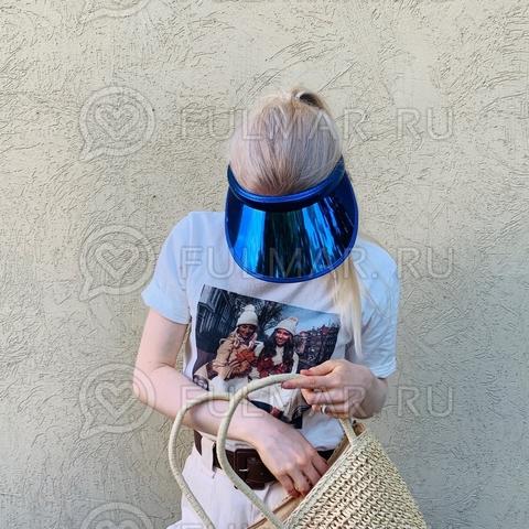 Козырёк-ободок от солнца на голову зеркальный Синий