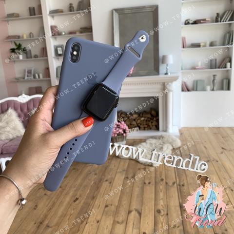 Чехол iPhone X/XS Silicone Case /lavender grey/ серая лаванда original quality