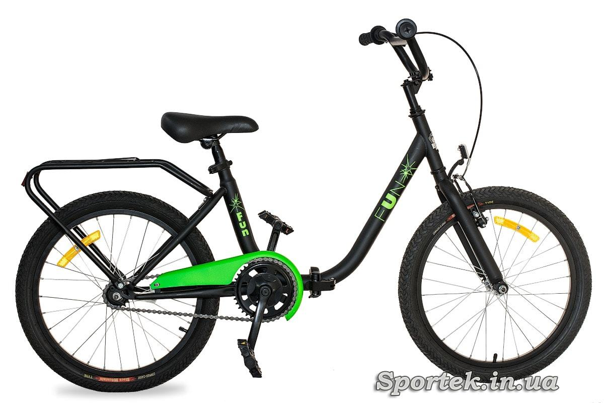 Чорно-зелений складаний підлітковий велосипед для хлопчиків Dorozhnik Fun 2016