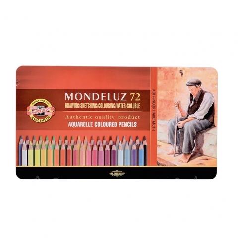 Набор акварельных цветных карандашей Koh-I-Noor 3727 Mondeluz в жестяной упаковке, 72 цвета