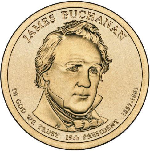 1 доллар 15-й президент США Джеймс Бьюкенен 2010 год