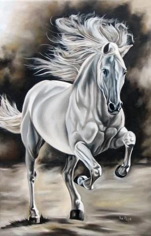 Картина раскраска по номерам 30x40 Белый конь